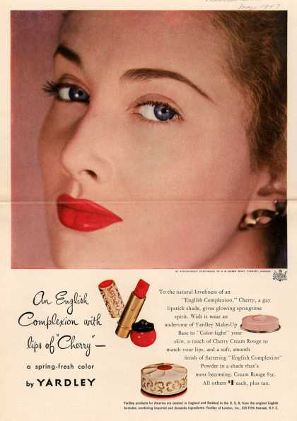 "Yardley of London's various – An English Complexion with lips of ""Cherry"" (1947)"