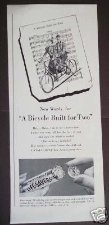 Bicycle Built for Two Life Savers Art (1940)