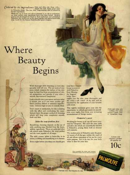 Palmolive Company's Palmolive Soap – Where Beauty Begins (1923)