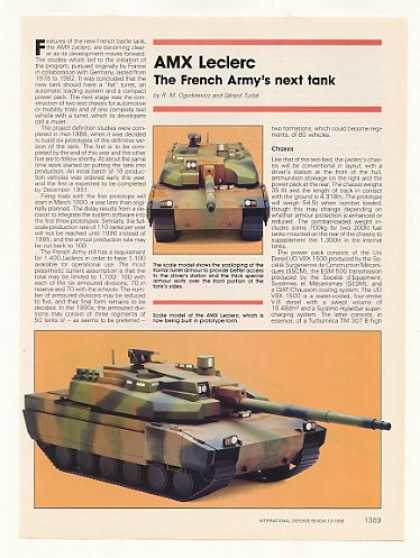 AMX Leclerc French Army Tank 5-Page Photo Article (1989)