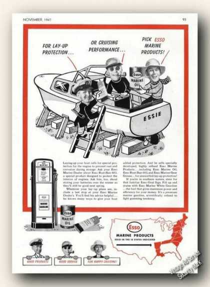 Esso Marine Products Cartoon Promo Boats (1947)