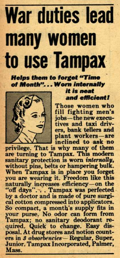 Tampax's Tampons – War duties lead many women to use Tampax (1943)