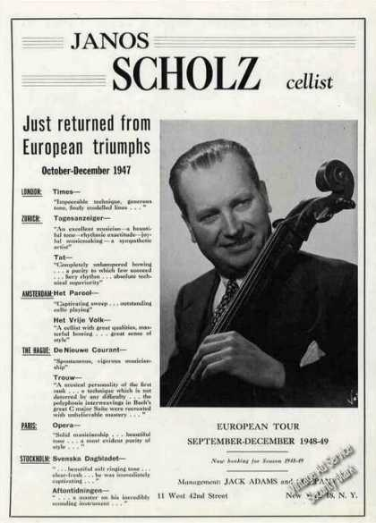 Janos Scholz Photo Cellist Booking (1948)