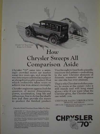 Chrysler 70 comparison aside AND Watermans Fountain Pen (1926)