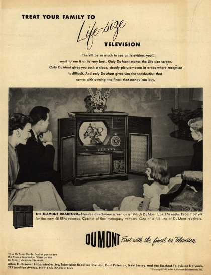 Allen B. DuMont Laboratorie's The DuMont Bradford Television Combination – Treat Your Family to Life-Size Television (1950)
