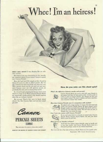 Cannon Percale Bed Sheets (1941)