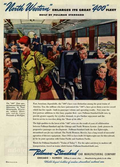 "Pullman-Standard Car Manufacturing Company – ""North Western"" Enlarges Its Great ""400"" Fleet Built By Pullman-Standard (1946)"