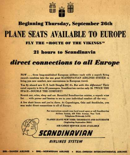 "Scandinavian Airlines System's New York to Europe – Plane Seats Available to Europe Fly the ""Route of the Vikings"" 21 hours to Scandinavia (1946)"