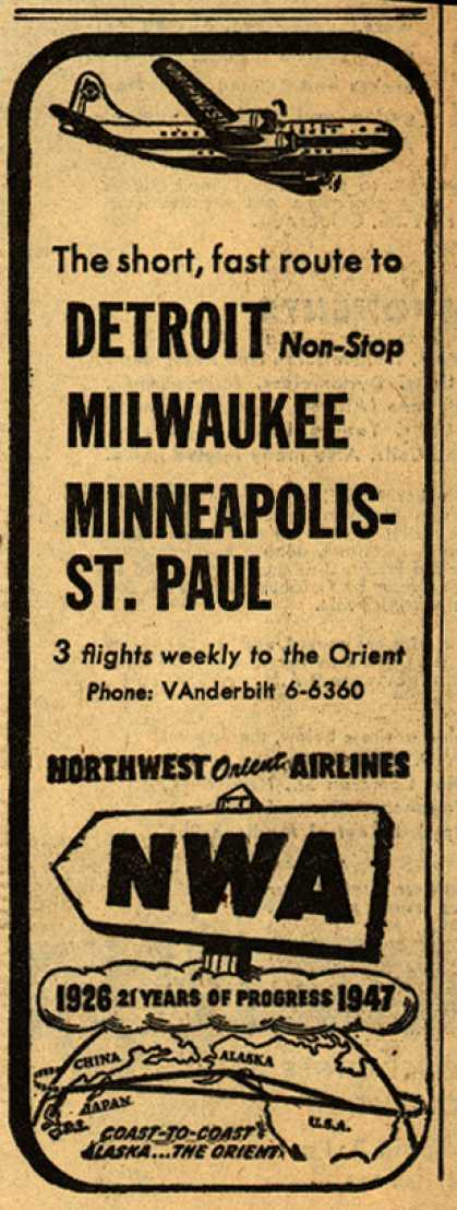 Northwest Airline&#8217;s various destinations &#8211; The short, fast route to DETROIT Non-Stop MILWAUKEE MINNEAPOLIS-ST. PAUL (1947)