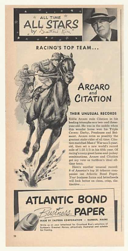 '52 Eddie Arcaro Citation Horse Racing Atlantic Bond (1952)