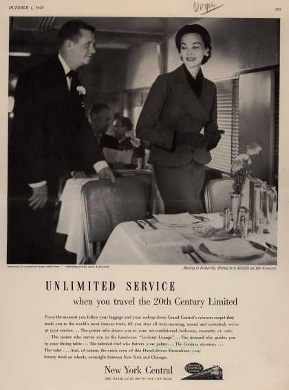 New York Central System's Unlimited Service – Unlimited Service, when you travel the 20th Century Limited (1950)