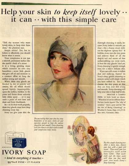 Procter & Gamble Co.'s Ivory Soap – Help your skin to keep itself lovely.. it can.. with this simple care (1928)