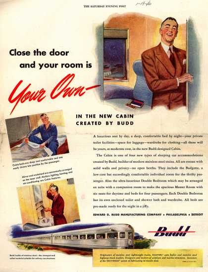 Edward G. Budd Manufacturing Company's New Cabin – Close the door and your room is Your Own (1946)