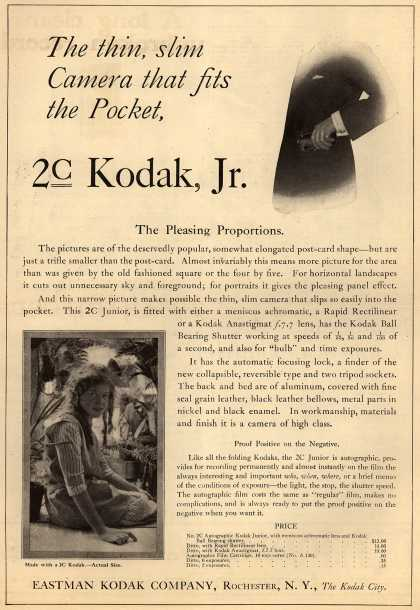 Kodak – The thin, slim Camera that fits the pocket, 2c Kodak, Jr. (1917)