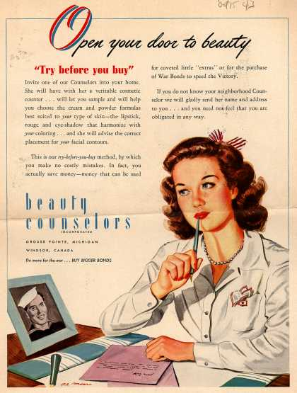 Beauty Counselors – Open Your Door To Beauty, try before you buy (1943)