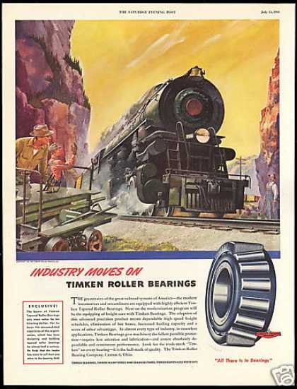 American Train Railroad Art Timken Bearings (1946)