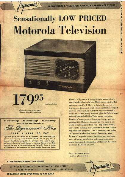 Motorola's Television – Sensationally Low Priced Motorola Television (1948)