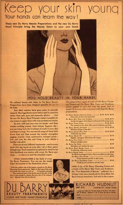 Richard Hudnut's Du Barry Beauty Treatments – Keep Your Skin Young Your Hands Can Learn The Way (1930)
