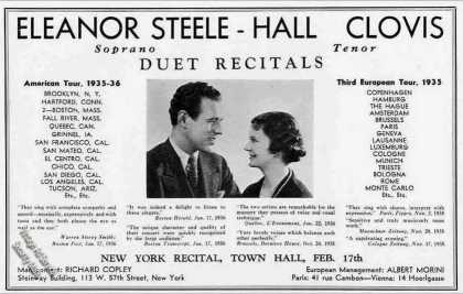 Eleanor Steele & Hall Clovis Duet Recitals (1936)