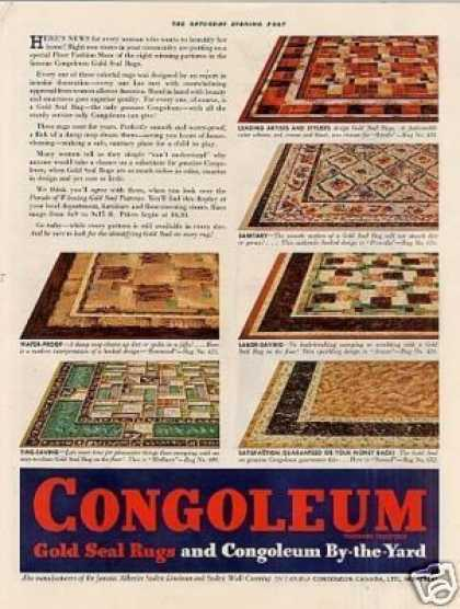 Congoleum Rugs Color Ad 2 Page (1936)