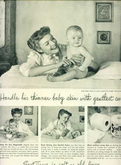 Scottissue Toilet Paper Ad Pretty Mom & Baby (1948)