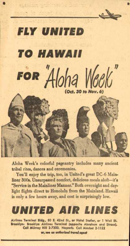 "United Air Line's Hawaii – Fly United TO Hawaii For ""Aloha Week"" (1949)"