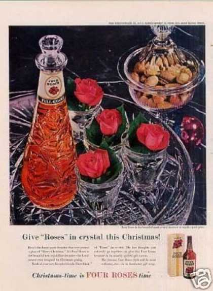 "Four Roses Whiskey Ad ""Gives Roses In Crystal... (1957)"