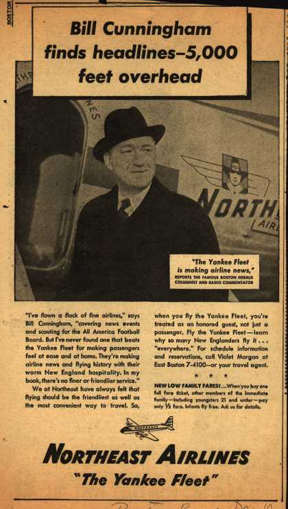 Northeast Airline's Yankee Fleet – Bill Cunningham finds headlines-5,000 feet overhead (1948)