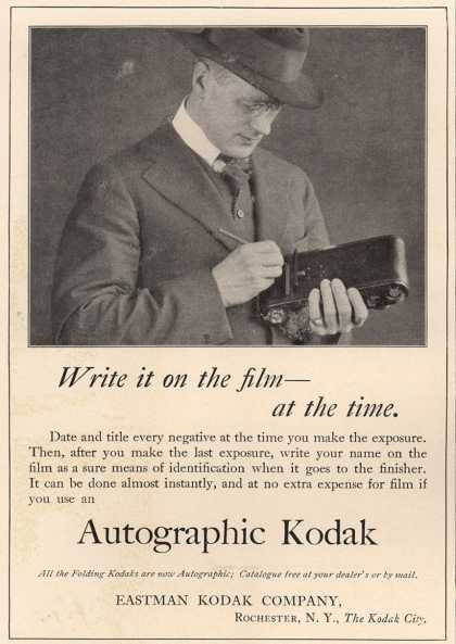 Kodak's Autographic cameras – Write it on the film – at the time. (1916)