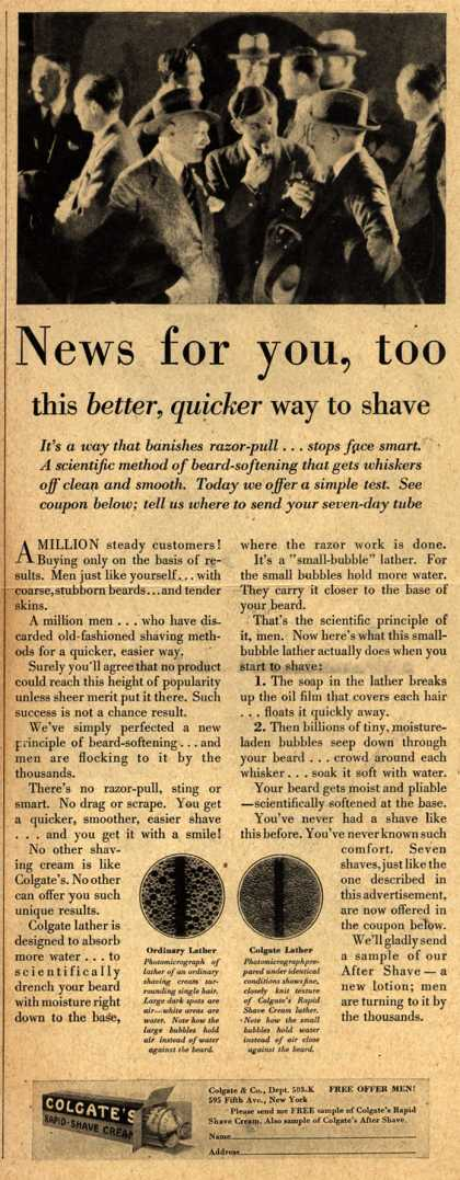 Colgate & Company's Colgate's Rapid-Shave Cream – News for you, too (1928)