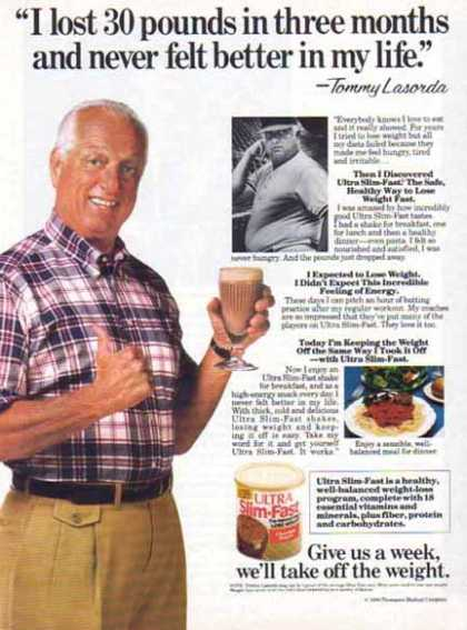 Slim Fast &#8211; Tommy Lasorda &#8211; Major League Baseball Coach (1989)