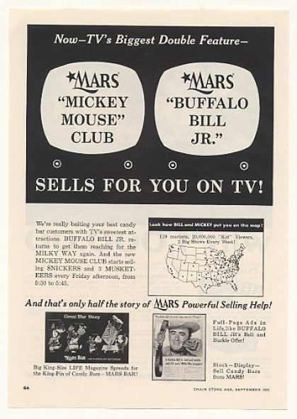 Mars Candy Mickey Mouse Club Buffalo Bill Jr TV (1955)