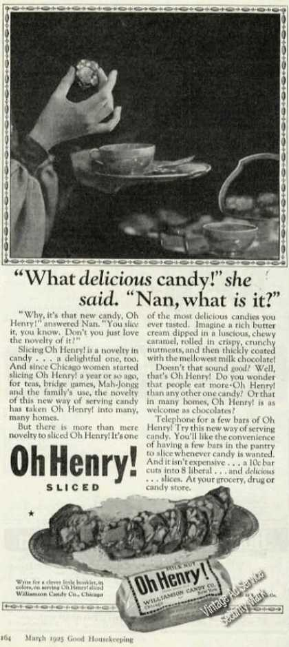 Oh Henry Candy Rare Antique Advertising (1925)