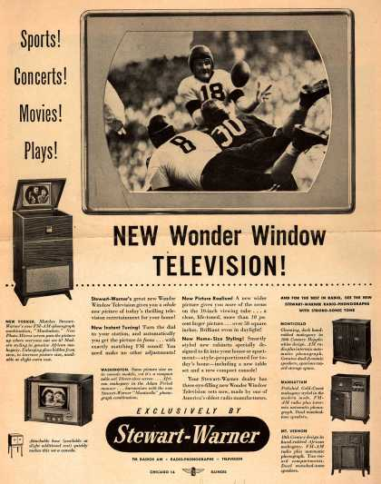 Stewart-Warner Corporation's Various TVs – Sports! Concerts! Movies! Plays! New Wonder Window Television (1948)