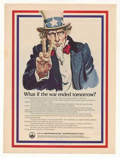 LTV Aerospace Looking Ahead Peace Uncle Sam art (1971)