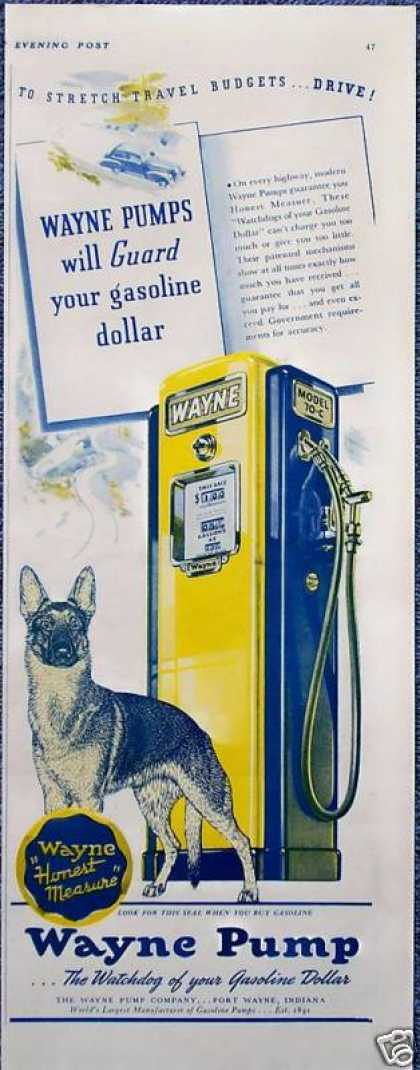 Wayne Gas Pump German Shephard Dog Guard Honest (1941)