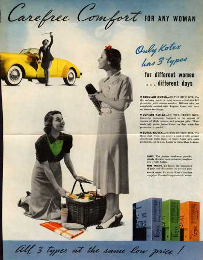 Kotex Company's Sanitary Napkins – Carefree Comfort For Any Woman (1937)