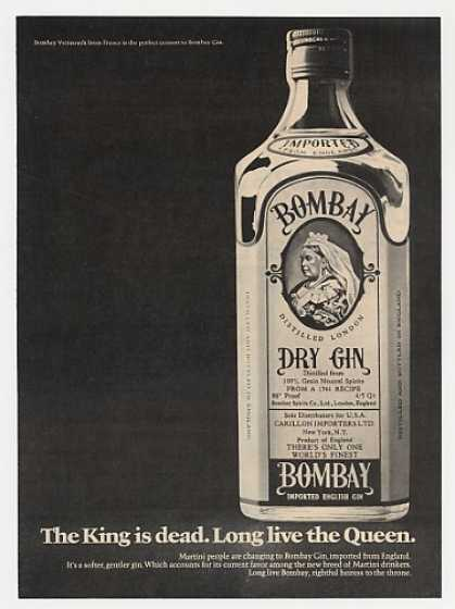 King is Dead Long Live Queen Bombay Gin Bottle (1969)