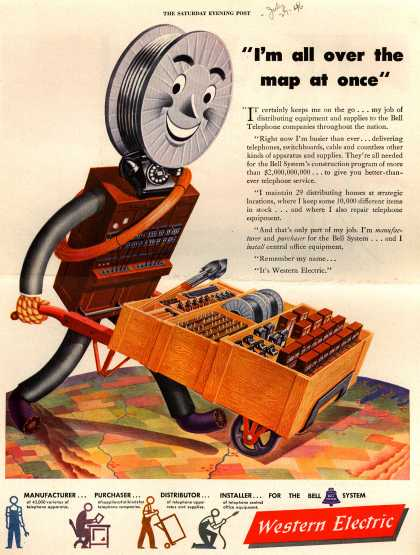"Western Electric's Corporate Ad – ""I'm all over the map at once"" (1946)"