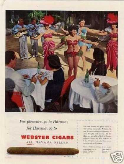 "Webster Cigars Ad ""For Pleasure Go To Havana... (1951)"