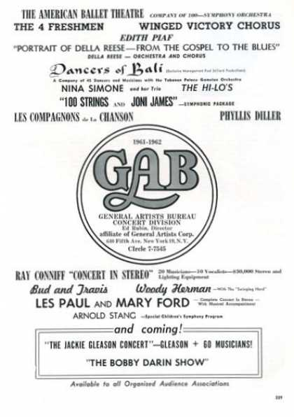 Gab General Artists Bureau Concert Division (1961)