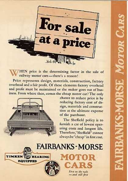 "Fairbanks-morse Motor Cars Ad ""Sheffield"" Cars (1929)"
