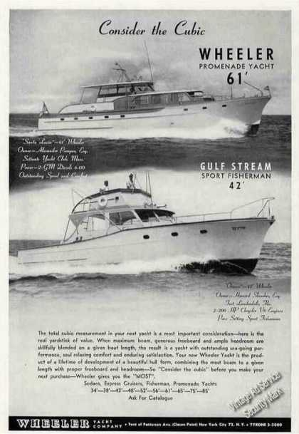 Wheeler Yacht Photos Collectible Boats (1956)