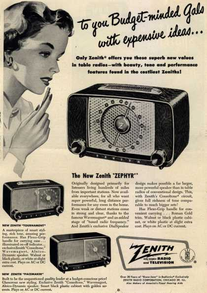 Zenith Radio Corporation's Table Radios – to you Budget-minded Gals with expensive ideas... (1949)
