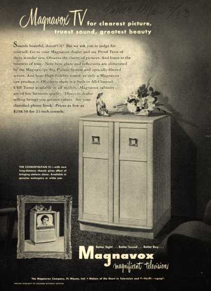 Magnavox Company's Television – Magnavox TV for clearest picture, truest sound, greatest beauty (1953)