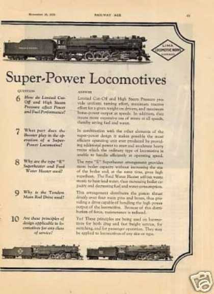 Lima Locomotive 2 Page Ad B&a, Ic, T&p, Erie, B&m (1929)