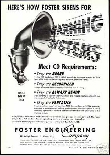 Foster Engineering Co Warning Siren Alarm (1951)