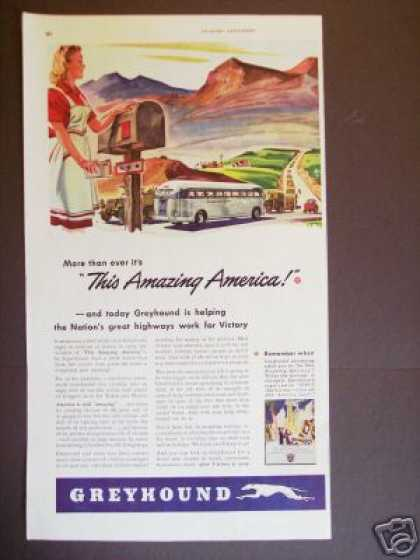 Amazing America Greyhound Bus Lines Art Wartime (1943)
