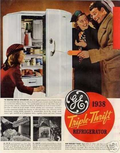 General Electric Refrigerator Color Ad 2 Page (1938)