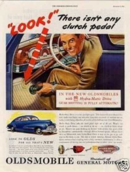 "Oldsmobile Car Ad ""There Isn't Any Clutch Pedal (1946)"